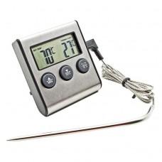 Термометр-таймер электронный звуковой с выносным стальным щупом от -50°C до +300°C
